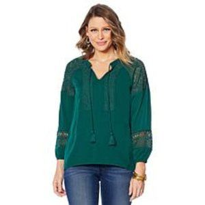 Colleen Lopez Green Crochet Trim Peasant Blouse L